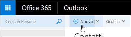Screenshot del cursore posizionato sul pulsante Nuovo nella pagina Persone.