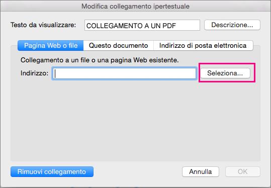 Finestra di dialogo Inserisci collegamento ipertestuale in PowerPoint 2016 per Mac