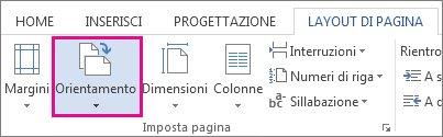 opzioni relative all'orientamento della pagina