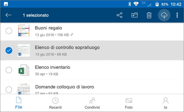 Contrassegnare i file di OneDrive per l'uso offline