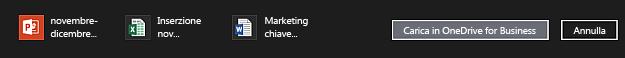 Barra delle azioni con file da caricare in OneDrive for Business selezionati