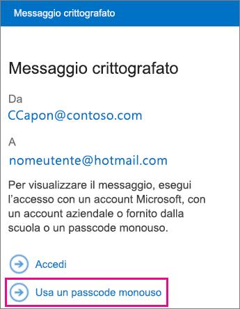 Visualizzatore OME - Messaggio passcode