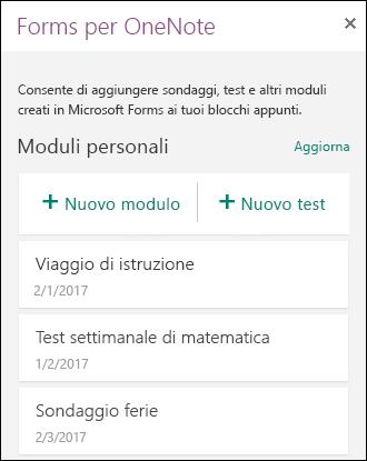 Riquadro Forms per OneNote in OneNote Online