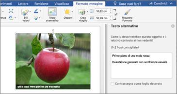 Documento di Word con un'immagine e riquadro di testo ALTERNATIVO a destra