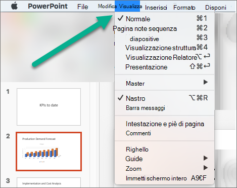Menu Visualizza in PowerPoint