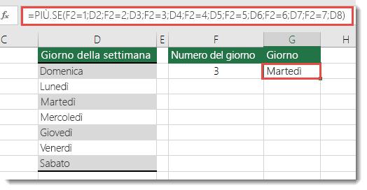 Funzione PIÙ.SE - Esempio dei giorni della settimana - La formula nella cella G2 è =PIÙ.SE(F2=1;D2;F2=2;D3;F2=3;D4;F2=4;D5;F2=5;D6;F2=6;D7;F2=7;D8)