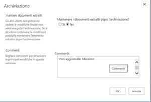 Finestra di messaggio visualizzata quando si archivia un file