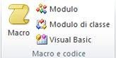 Immagine del gruppo Macro e codice sulla barra multifunzione di Access