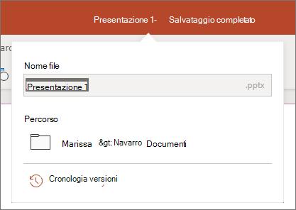 Fare clic sul nome del file al centro della barra del titolo nella parte superiore della finestra del browser.