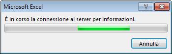 Messaggio di Office: È in corso la connessione al server per informazioni
