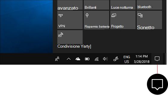 Accedere al centro notifiche facendo clic sull'icona del centro notifiche nella barra delle applicazioni.
