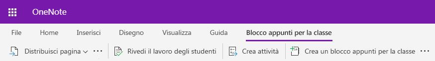 Screenshot della scheda blocco appunti della classe in OneNote per il Web