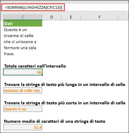 Contare il numero totale di caratteri in un intervallo e altre matrici per l'uso delle stringhe di testo