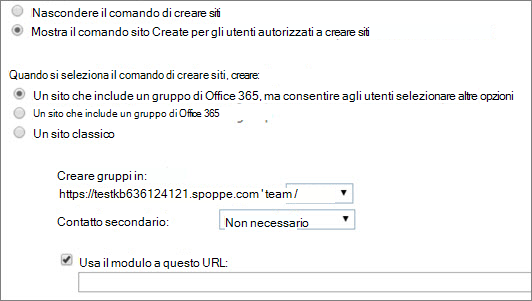 Mostra il comando sito crea