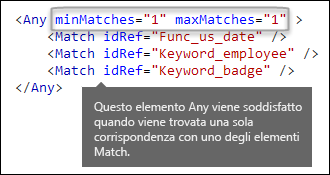 Markup XML che mostra l'elemento Any con gli attributi minMatches e maxMatches