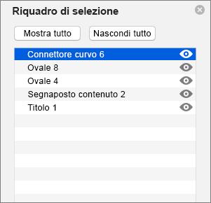 Riquadro di selezione in PowerPoint 2016 per Mac