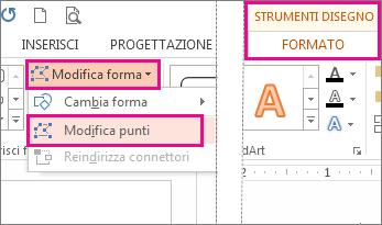 Accesso al comando Modifica punti da Modifica forma nella scheda Strumenti disegno - Formato