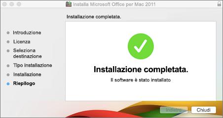 Screenshot della finestra che informa l'installazione è stata eseguita correttamente