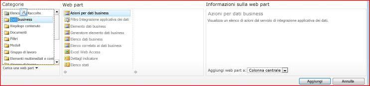 Lo strumento di selezione di web part mostra la web part Excel Web Access