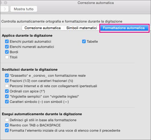 Opzione Formattazione automatica durante la digitazione evidenziata in Preferenze