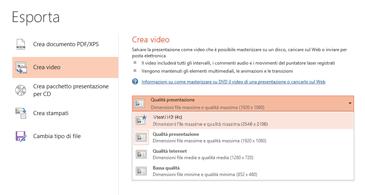 Screenshot della finestra di dialogo Esporta con le opzioni disponibili per la creazione di un video basato su una presentazione