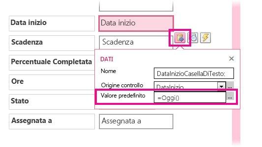 Impostazione del valore predefinito di un campo della data in un'app Access.