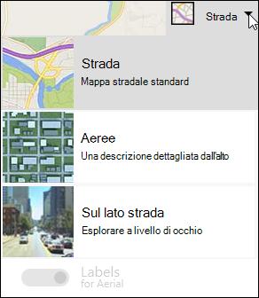 Tipo di mappa della web part Bing Maps