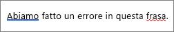 Word indica errori ortografici e grammaticali con la sottolineatura colorato