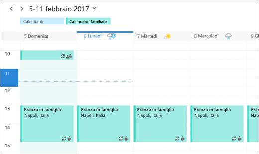 Screenshot del Calendario di Outlook che mostra un evento di famiglia condiviso.