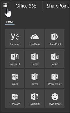 Icona di avvio delle app di SharePoint Online aperta con il pulsante dell'icona evidenziato