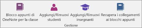 Gruppo Gestisci della scheda Blocco appunti della classe.