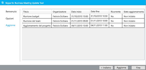 Schermata di aggiornamento dello strumento di migrazione delle riunioni