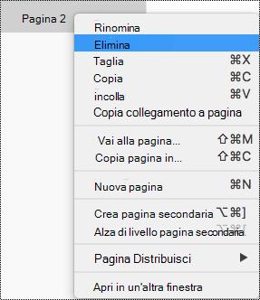 Elimina pagina in OneNote per Mac