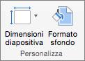 Screenshot che mostra il gruppo Personalizza con le opzioni per Dimensioni diapositiva e Formato sfondo.