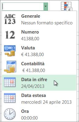 Comando Data in cifre nella raccolta Formato numero