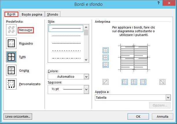 Finestra di dialogo Outlook 2010 bordi e sfondo per le tabelle
