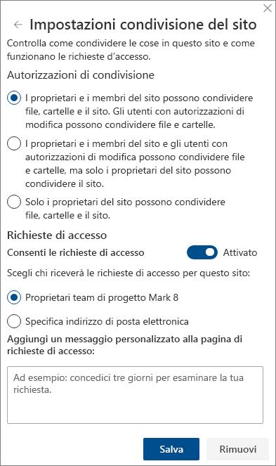 Schermata del riquadro Impostazioni condivisione del sito.