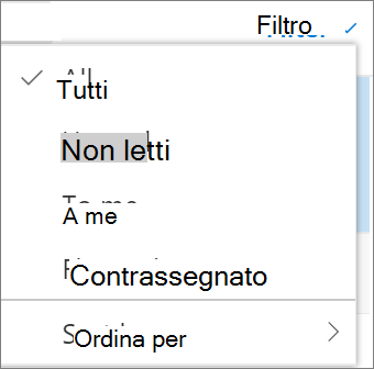 Una schermata mostra l'opzione tutto selezionato nel controllo Filt per i messaggi di posta elettronica.