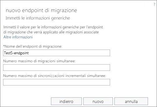 Nome dell'endpoint di migrazione.