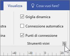 Schermata delle opzioni della scheda Visualizza con Griglia dinamica e Punti di connessione selezionati