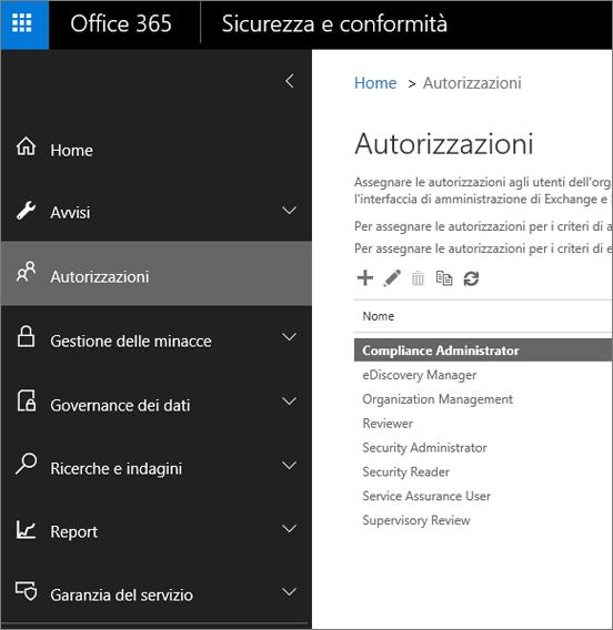 Pagina Autorizzazioni nel Centro sicurezza e conformità di Office 365