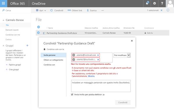 Gli utenti ricevono questo messaggio di errore tentano di condividere un documento di OneDrive con un indirizzo di un dominio con restrizioni.