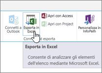 Pulsante Esporta in Excel di SharePoint evidenziato sulla barra multifunzione