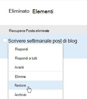 Screenshot che mostra il menu di recupero degli elementi eliminati