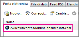 Account nella finestra di dialogo Impostazioni dell'account in Outlook 2013
