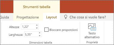 Pulsante testo alternativo sulla barra multifunzione di una tabella in PowerPoint online.