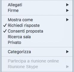 Riunione Skype menu Riunione disattivata
