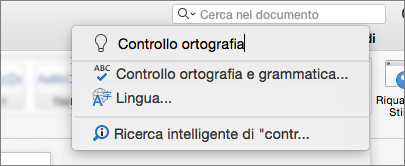 Comunicare casella di ricerca di Word 2016 per Mac