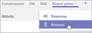 Screenshot del menu a discesa della scheda con Rimuovi selezionato