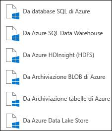 Recuperare dati da Microsoft Azure